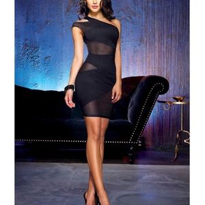 DreamGirl Black backless one shoulder dress size S